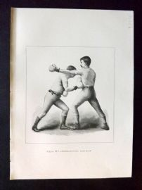 Badminton Library 1893 Antique Boxing Print. Cross-Counter Body-Blow